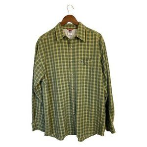 The North Face Mens Button Front Shirt Green Plaid
